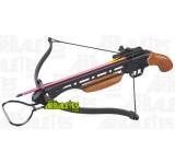 Un pistolet arbalète Arbaletes.com (recurve) à crosse bois, d'une puissance de 150 livres. Le Castelnaud est muni d'un étrier d'armement au pied, une détente sensible et un cran de sureté de corde automatique