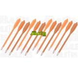 Un lot de douze carreaux oranges pour pistolets arbalètes, à corps en PVC et tête en aluminium