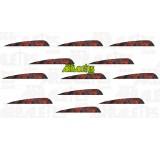 Lot de 12 plumes naturelles rouges et noires