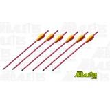 Un trait rouge en aluminium de 14 pouces (environ 35 cm) de long et de 8 mm de diamètre pour arbalètes, à tête dévissable, spécial tir à l'arbalète, pour arc recurve ou arc à poulies