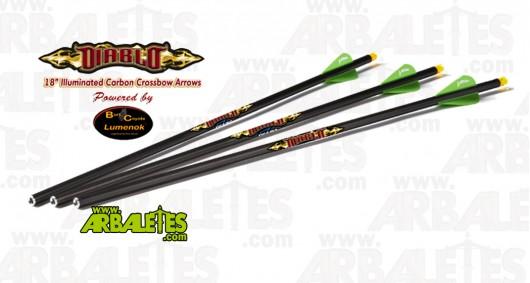 Pack 3 flèches carbone Excalibur Diablo illuminées - 45cm