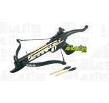 Un pistolet arbalète Arbaletes.com (recurve) à crosse synthétique, d'une puissance de 80 livres. Le Nesle est le seul modèle doté d'un levier d'armement à l'arrière plutôt qu'un étrier, ainsi que d'une détente sensible et un cran de sureté de corde automatique